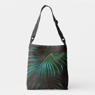 Tropical Palm Leaf Calm Green Minimalistic Crossbody Bag