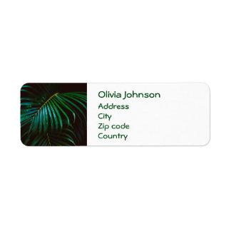Tropical Palm Leaf Calm Green Minimalistic Return Address Label