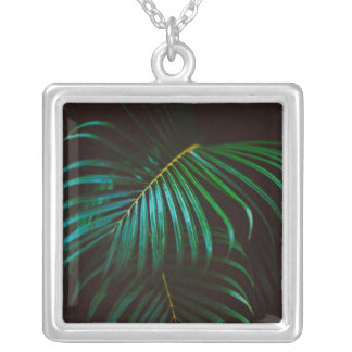 Tropical Palm Leaf Calm Green Minimalistic Silver Plated Necklace