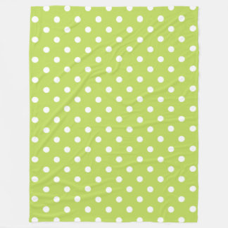 Tropical Palm Leaf Green and White Polka Dot Fleece Blanket