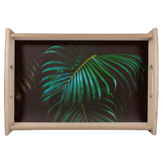 Tropical Palm Leaf Relaxing Green Meditative Serving Tray