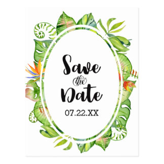 Tropical Palm Leaf Wreath Wedding Save the Date Postcard