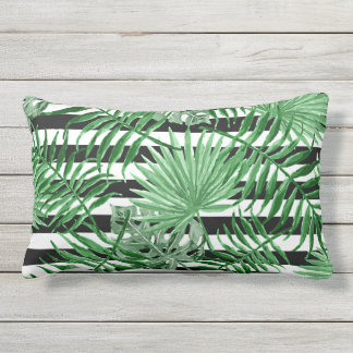 Tropical Palm Leafs Black White Stripes Pattern Lumbar Pillow