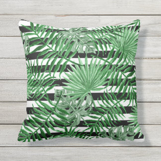 Tropical Palm Leafs Black White Stripes Pattern Outdoor Pillow