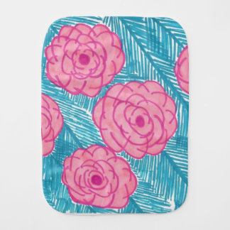 Tropical Palm Leaves and Flowers Burp Cloth