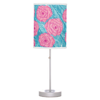 Tropical Palm Leaves and Flowers Lamp