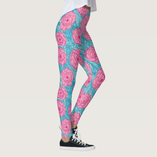 Tropical Palm Leaves and Flowers Leggings