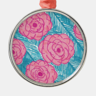 Tropical Palm Leaves and Flowers Metal Ornament