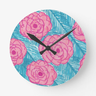 Tropical Palm Leaves and Flowers Round Clock