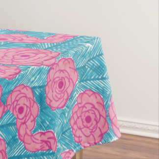 Tropical Palm Leaves and Flowers Tablecloth