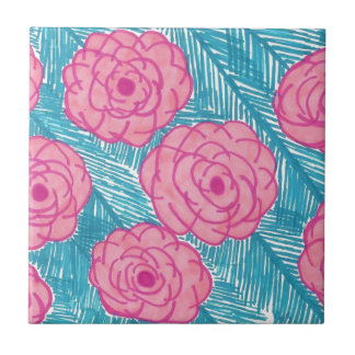 Tropical Palm Leaves and Flowers Tile