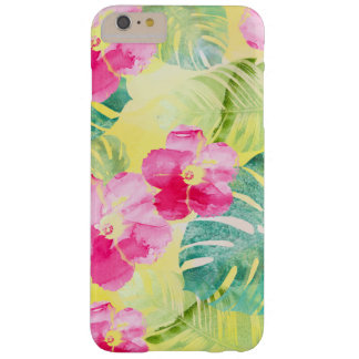 Tropical Palm Leaves and Hibiscus Flowers Barely There iPhone 6 Plus Case