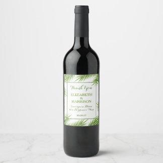 Tropical Palm Leaves Beach Wedding Wine Label
