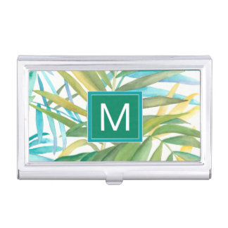 Tropical Palm Leaves Business Card Holder