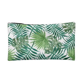 Tropical Palm Leaves Cosmetic Bag