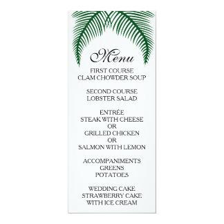 "Tropical Palm Leaves Menu 4"" X 9.25"" Invitation Card"