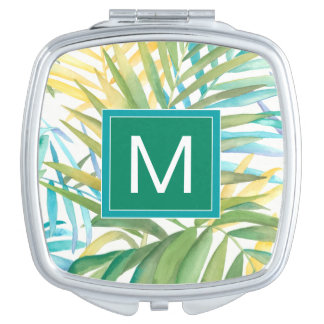 Tropical Palm Leaves Mirror For Makeup