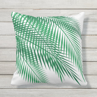 Tropical Palm Leaves on White - Outdoor Outdoor Pillow