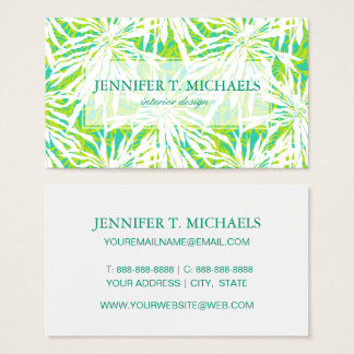 Tropical Palm Leaves Pattern Business Card