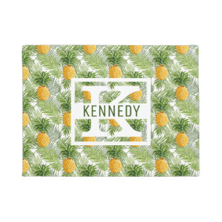 Tropical Palm Leaves & Pineapples   Add Your Name Doormat