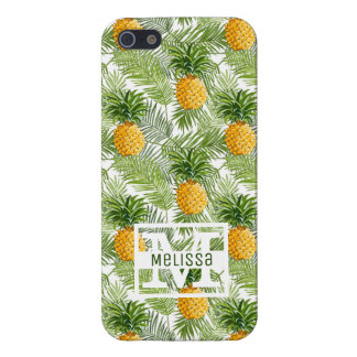 Tropical Palm Leaves & Pineapples | Add Your Name iPhone 5/5S Covers