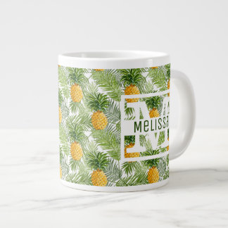 Tropical Palm Leaves & Pineapples | Add Your Name Large Coffee Mug