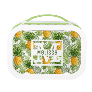 Tropical Palm Leaves & Pineapples | Add Your Name Lunchboxes