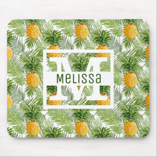 Tropical Palm Leaves & Pineapples | Add Your Name Mouse Pad