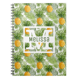 Tropical Palm Leaves & Pineapples | Add Your Name Notebook