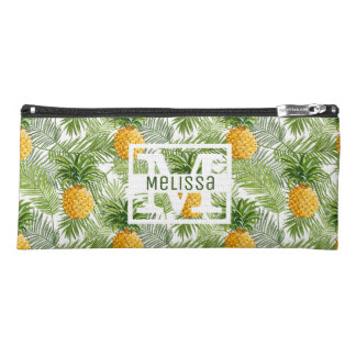Tropical Palm Leaves & Pineapples   Add Your Name Pencil Case