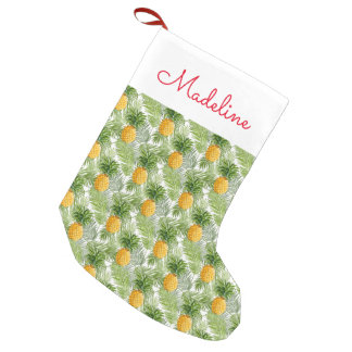 Tropical Palm Leaves & Pineapples | Add Your Name Small Christmas Stocking