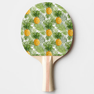 Tropical Palm Leaves & Pineapples Ping Pong Paddle