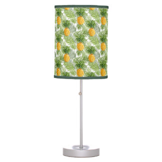 Tropical Palm Leaves & Pineapples Table Lamps