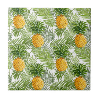 Tropical Palm Leaves & Pineapples Tile