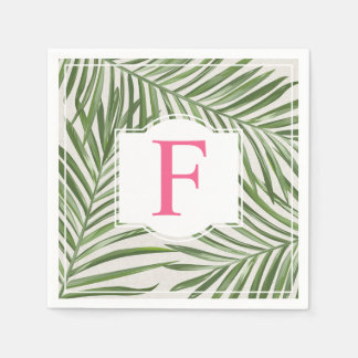 Tropical Palm Leaves | Pink Monogram Paper Napkin