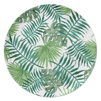 Tropical Palm Leaves Plate