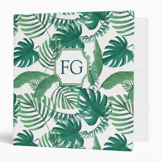 Tropical Palm Leaves Print Monogram Binder