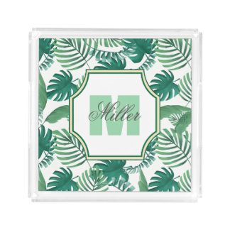 Tropical Palm Leaves Print Monogram Tray