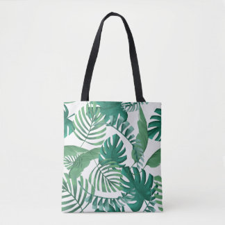 Tropical Palm Leaves Print Tote