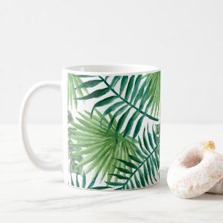 Tropical Palm Leaves Watercolor Coffee Mug