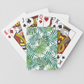 Tropical Palm Leaves Watercolor Playing Cards