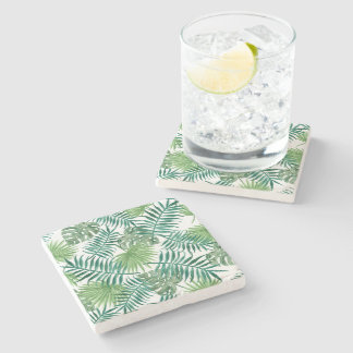 Tropical Palm Leaves Watercolor Stone Coaster