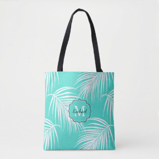 Tropical Palm Pattern with Monogram Tote Bag