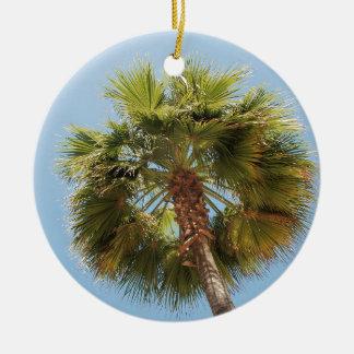 Tropical palm round ceramic ornament