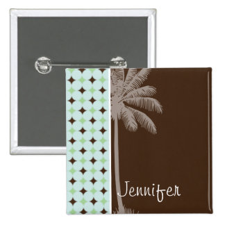 Tropical Palm Sage Green Brown Pinback Buttons
