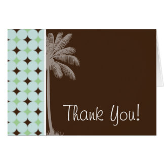 Tropical Palm; Sage Green & Brown Note Card