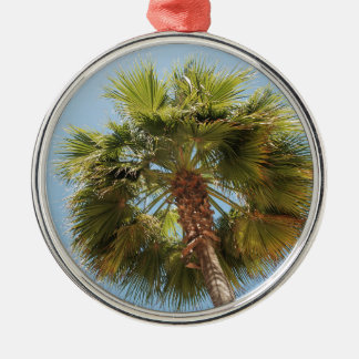 Tropical palm Silver-Colored round ornament