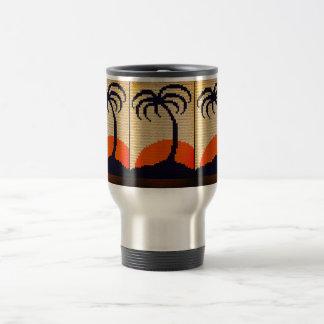 Tropical Palm Sunset Crochet Travel Commuter Mug