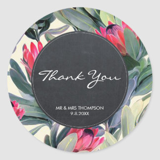 tropical palm thank you favours sticker wedding