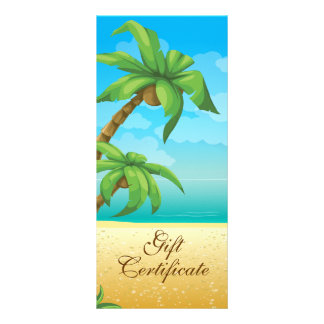 Tropical Palm Tree And Beach Gift Certificate Customized Rack Card